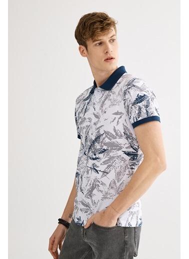 Avva Erkek  Polo Yakalı Baskılı Tişört A01S1207 İndigo